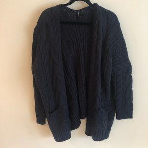 Sweaters - Oversized Navy Cardigan